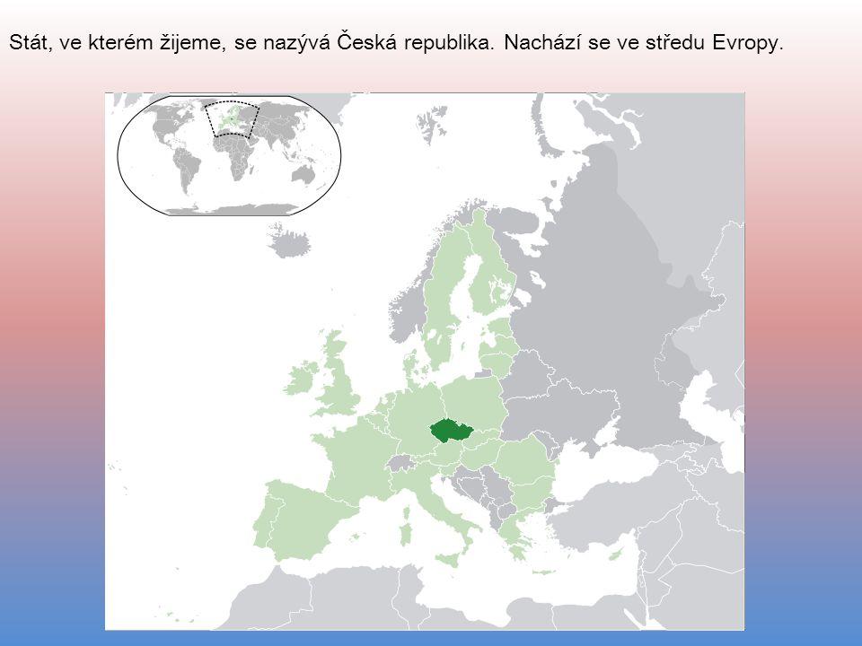 Stát, ve kterém žijeme, se nazývá Česká republika. Nachází se ve středu Evropy.