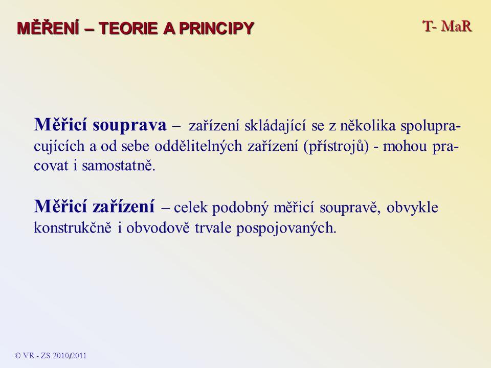 T- MaR MĚŘENÍ – TEORIE A PRINCIPY Měřicí souprava – zařízení skládající se z několika spolupra- cujících a od sebe oddělitelných zařízení (přístrojů)