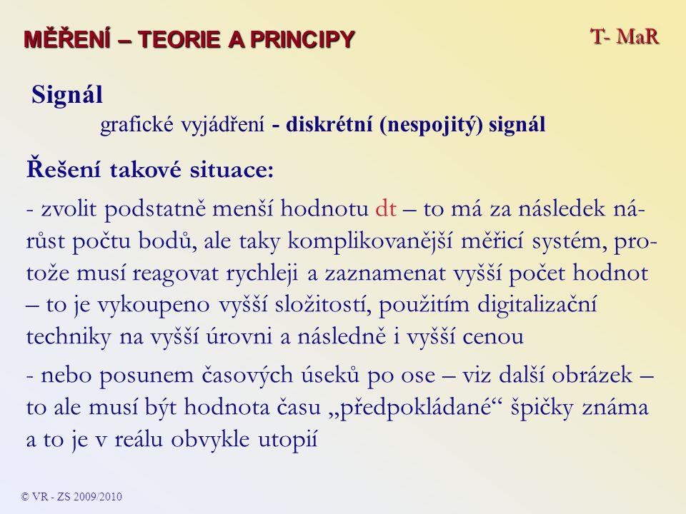 T- MaR MĚŘENÍ – TEORIE A PRINCIPY © VR - ZS 2009/2010 Signál grafické vyjádření - diskrétní (nespojitý) signál Řešení takové situace: - zvolit podstat