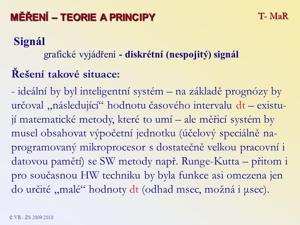 T- MaR MĚŘENÍ – TEORIE A PRINCIPY © VR - ZS 2009/2010 Signál grafické vyjádření - diskrétní (nespojitý) signál Řešení takové situace: - ideální by byl