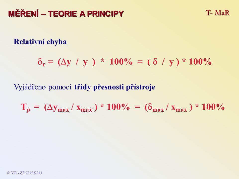 T- MaR MĚŘENÍ – TEORIE A PRINCIPY Relativní chyba  r = (  y / y ) * 100% = (  / y ) * 100% Vyjádřeno pomocí třídy přesnosti přístroje T p = (  y m