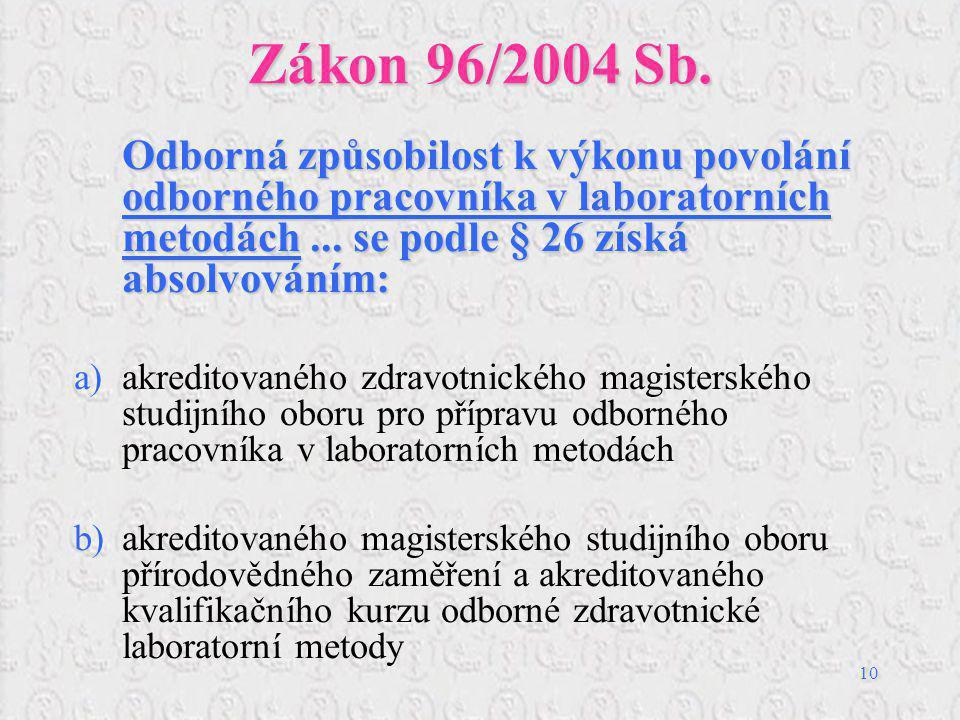 10 Zákon 96/2004 Sb. Odborná způsobilost k výkonu povolání odborného pracovníka v laboratorních metodách... se podle § 26 získá absolvováním: a)akredi