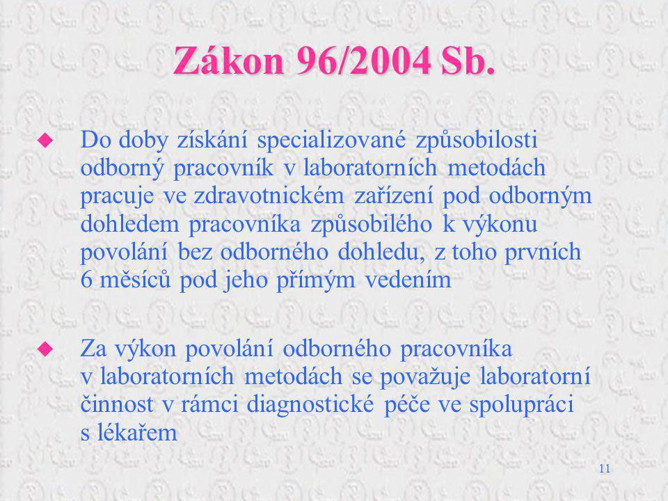11 Zákon 96/2004 Sb.  Do doby získání specializované způsobilosti odborný pracovník v laboratorních metodách pracuje ve zdravotnickém zařízení pod od