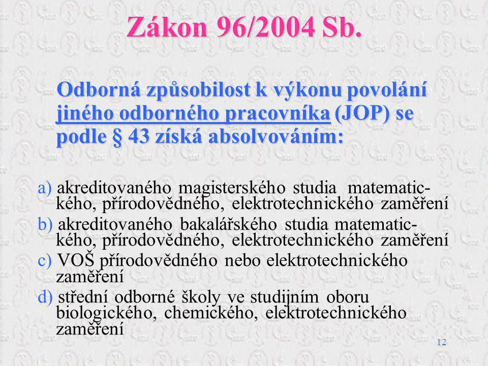 12 Zákon 96/2004 Sb. Odborná způsobilost k výkonu povolání jiného odborného pracovníka (JOP) se podle § 43 získá absolvováním: a) akreditovaného magis