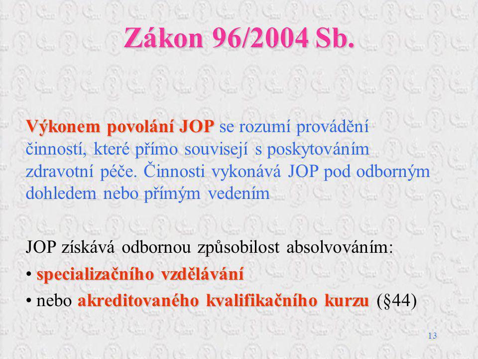 13 Zákon 96/2004 Sb. Výkonem povolání JOP Výkonem povolání JOP se rozumí provádění činností, které přímo souvisejí s poskytováním zdravotní péče. Činn