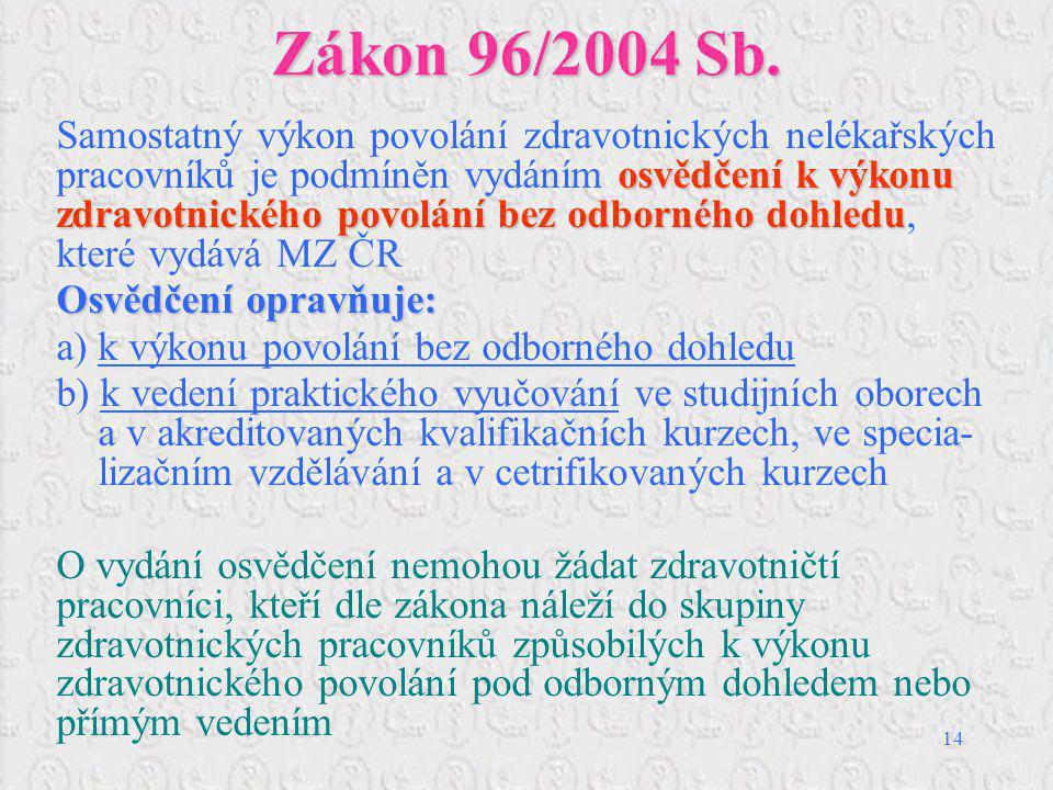 14 Zákon 96/2004 Sb. osvědčení k výkonu zdravotnického povolání bez odborného dohledu Samostatný výkon povolání zdravotnických nelékařských pracovníků