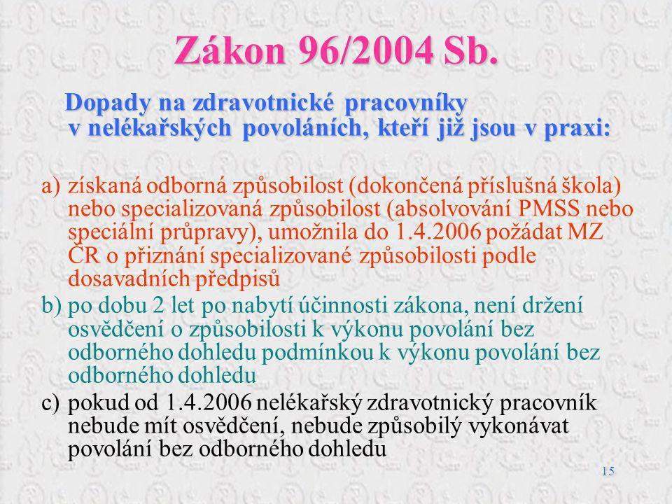 15 Zákon 96/2004 Sb. Dopady na zdravotnické pracovníky v nelékařských povoláních, kteří již jsou v praxi: a)získaná odborná způsobilost (dokončená pří