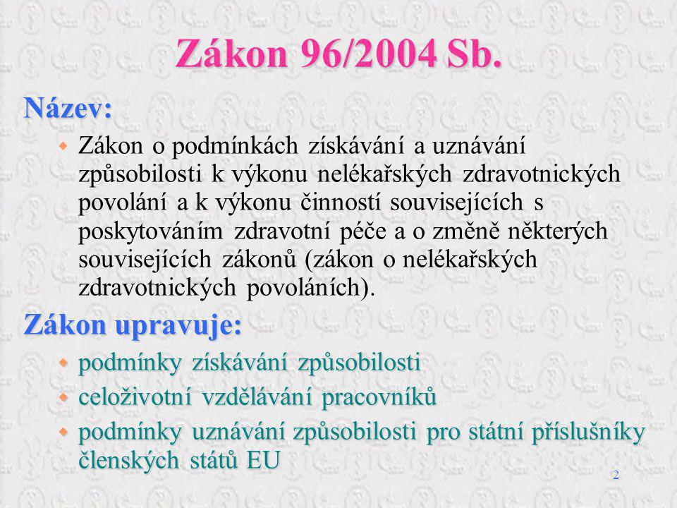 3 Zákon 96/2004 Sb.