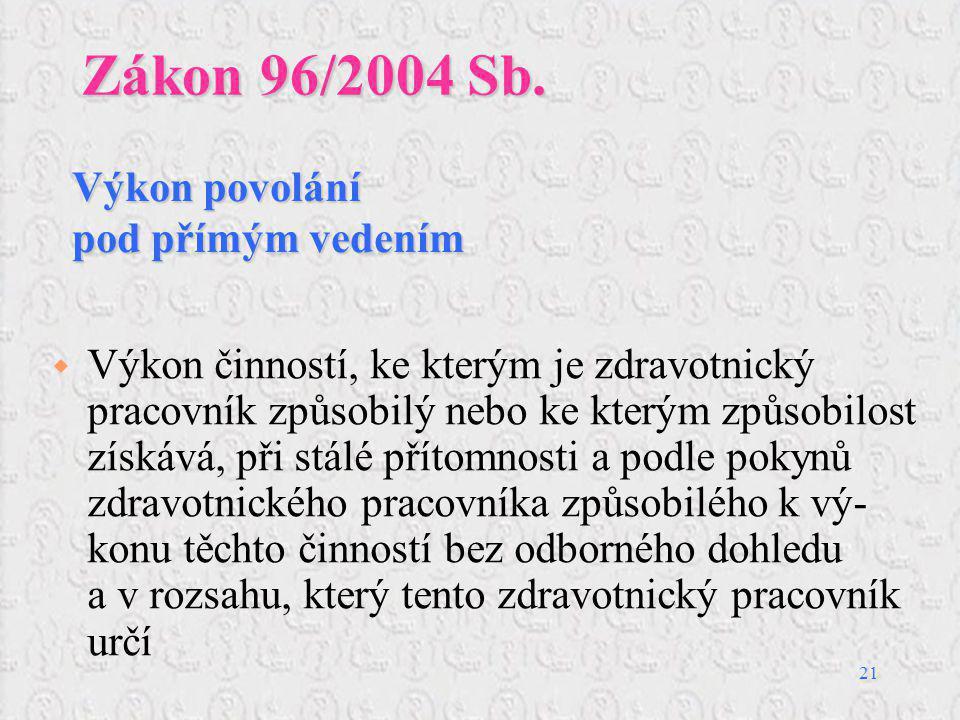 21 Zákon 96/2004 Sb.  Výkon činností, ke kterým je zdravotnický pracovník způsobilý nebo ke kterým způsobilost získává, při stálé přítomnosti a podle