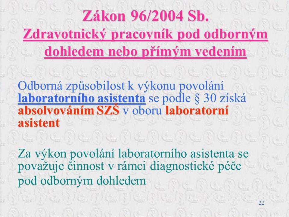 22 Zákon 96/2004 Sb. Zdravotnický pracovník pod odborným dohledem nebo přímým vedením laboratorního asistenta absolvováním SZŠlaboratorní asistent Odb
