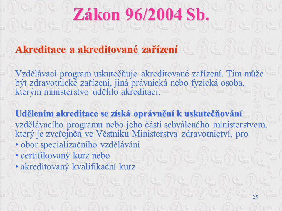 25 Zákon 96/2004 Sb. Akreditace a akreditované zařízení Vzdělávací program uskutečňuje akreditované zařízení. Tím může být zdravotnické zařízení, jiná