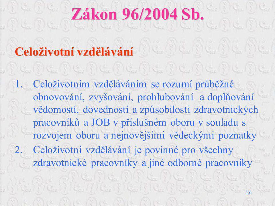 26 Zákon 96/2004 Sb. Celoživotní vzdělávání 1.Celoživotním vzděláváním se rozumí průběžné obnovování, zvyšování, prohlubování a doplňování vědomostí,