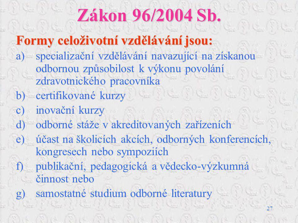 27 Zákon 96/2004 Sb. Formy celoživotní vzdělávání jsou: a)specializační vzdělávání navazující na získanou odbornou způsobilost k výkonu povolání zdrav