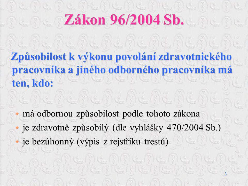 3 Zákon 96/2004 Sb. Způsobilost k výkonu povolání zdravotnického pracovníka a jiného odborného pracovníka má ten, kdo: Způsobilost k výkonu povolání z