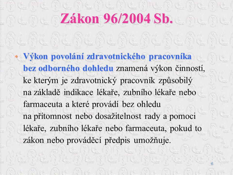 6 Zákon 96/2004 Sb.  Výkon povolání zdravotnického pracovníka bez odborného dohledu  Výkon povolání zdravotnického pracovníka bez odborného dohledu