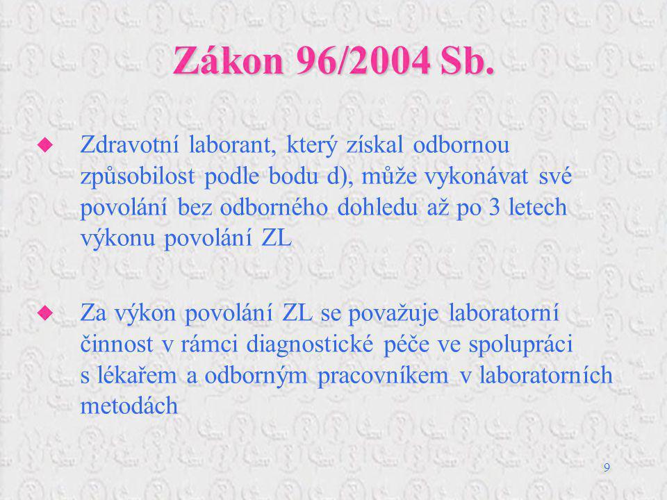9 Zákon 96/2004 Sb.  Zdravotní laborant, který získal odbornou způsobilost podle bodu d), může vykonávat své povolání bez odborného dohledu až po 3 l