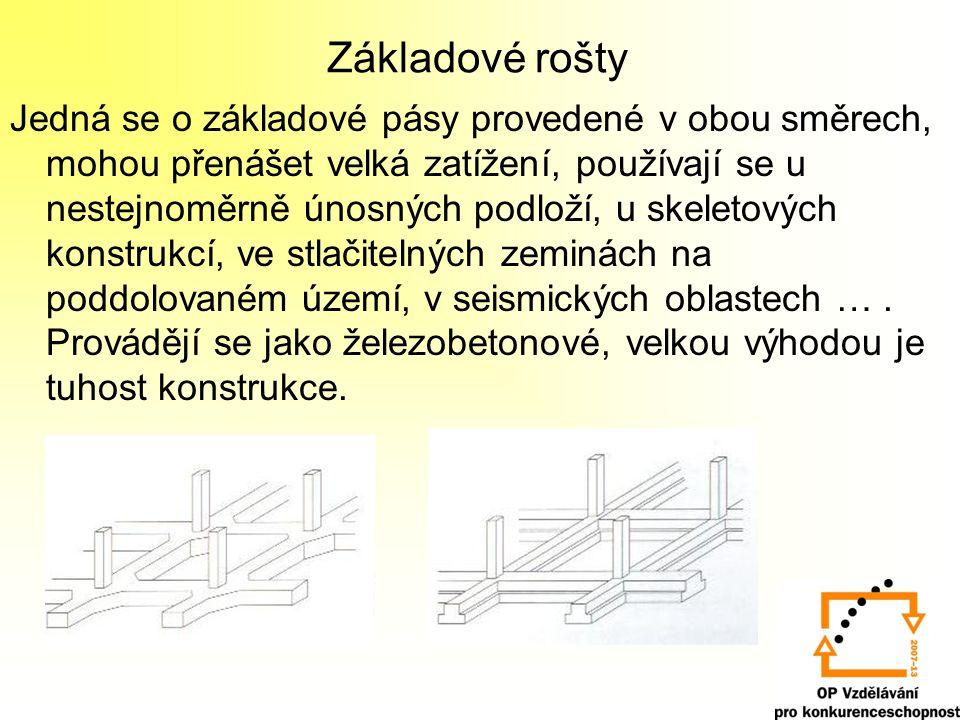 Základové rošty Jedná se o základové pásy provedené v obou směrech, mohou přenášet velká zatížení, používají se u nestejnoměrně únosných podloží, u sk