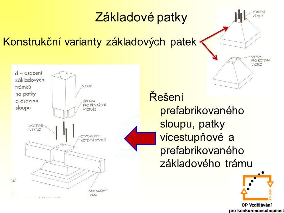 Základové patky Konstrukční varianty základových patek Řešení prefabrikovaného sloupu, patky vícestupňové a prefabrikovaného základového trámu