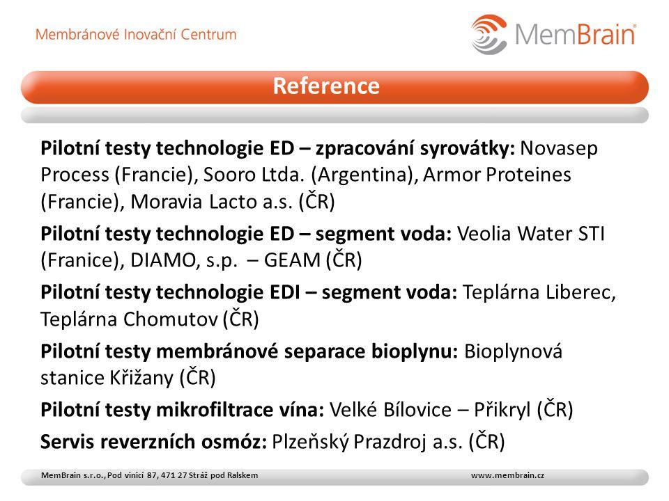 Pilotní testy technologie ED – zpracování syrovátky: Novasep Process (Francie), Sooro Ltda. (Argentina), Armor Proteines (Francie), Moravia Lacto a.s.