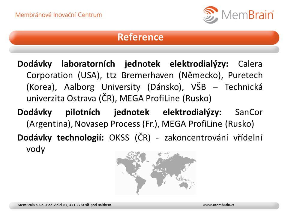 Dodávky laboratorních jednotek elektrodialýzy: Calera Corporation (USA), ttz Bremerhaven (Německo), Puretech (Korea), Aalborg University (Dánsko), VŠB – Technická univerzita Ostrava (ČR), MEGA ProfiLine (Rusko) Dodávky pilotních jednotek elektrodialýzy: SanCor (Argentina), Novasep Process (Fr.), MEGA ProfiLine (Rusko) Dodávky technologií: OKSS (ČR) - zakoncentrování vřídelní vody Reference MemBrain s.r.o., Pod vinicí 87, 471 27 Stráž pod Ralskem www.membrain.cz