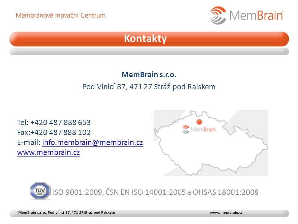 MemBrain s.r.o. Pod Vinicí 87, 471 27 Stráž pod Ralskem Tel: +420 487 888 653 Fax:+420 487 888 102 E-mail: info.membrain@membrain.czinfo.membrain@memb