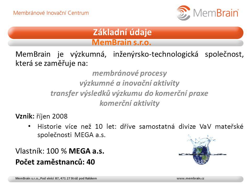 MemBrain je výzkumná, inženýrsko-technologická společnost, která se zaměřuje na: membránové procesy výzkumné a inovační aktivity transfer výsledků výzkumu do komerční praxe komerční aktivity Vznik: říjen 2008 • Historie více než 10 let: dříve samostatná divize VaV mateřské společnosti MEGA a.s.