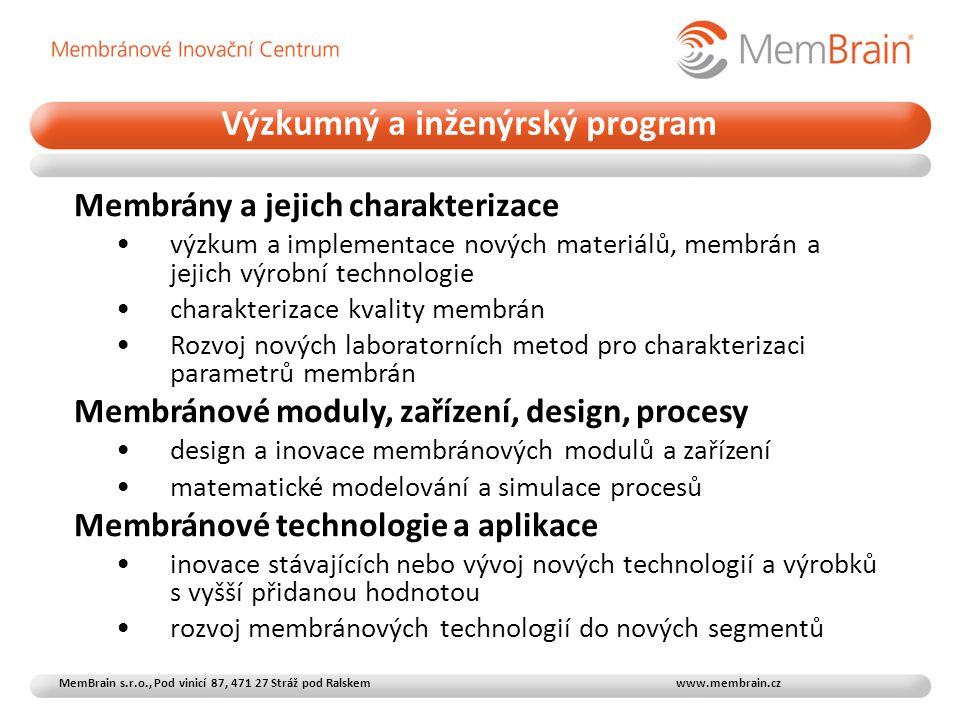 Membrány a jejich charakterizace •výzkum a implementace nových materiálů, membrán a jejich výrobní technologie •charakterizace kvality membrán •Rozvoj nových laboratorních metod pro charakterizaci parametrů membrán Membránové moduly, zařízení, design, procesy •design a inovace membránových modulů a zařízení •matematické modelování a simulace procesů Membránové technologie a aplikace •inovace stávajících nebo vývoj nových technologií a výrobků s vyšší přidanou hodnotou •rozvoj membránových technologií do nových segmentů Výzkumný a inženýrský program MemBrain s.r.o., Pod vinicí 87, 471 27 Stráž pod Ralskem www.membrain.cz