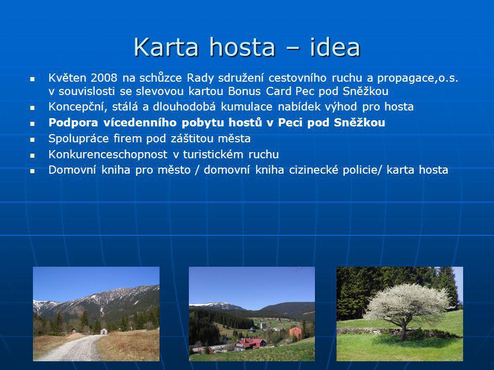 Karta hosta – idea   Květen 2008 na schůzce Rady sdružení cestovního ruchu a propagace,o.s. v souvislosti se slevovou kartou Bonus Card Pec pod Sněž