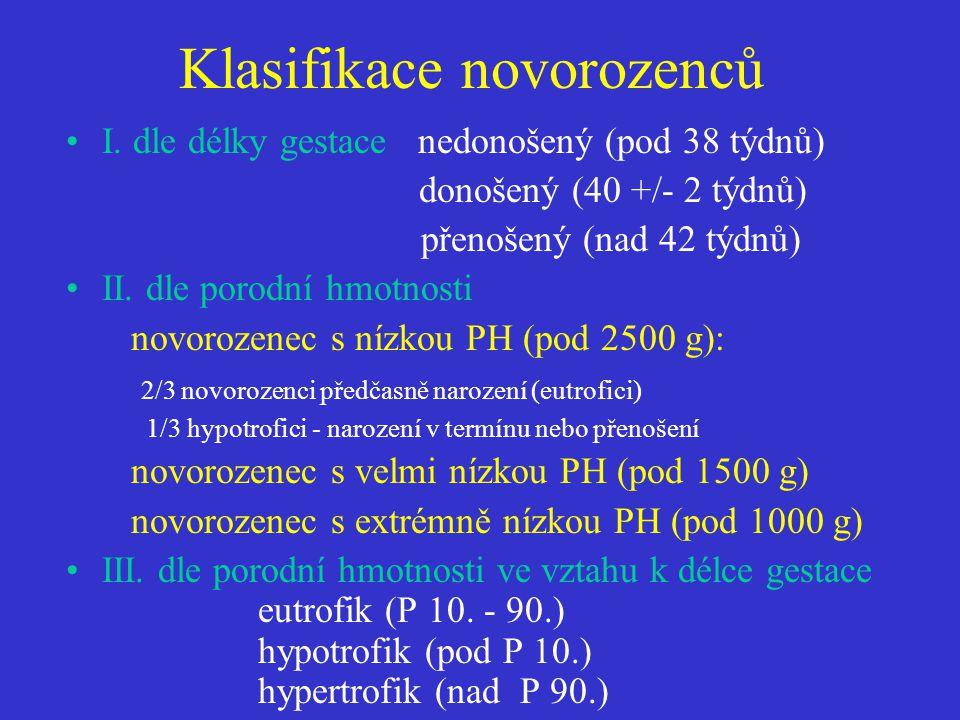 Klasifikace novorozenců •I. dle délky gestace nedonošený (pod 38 týdnů) donošený (40 +/- 2 týdnů) přenošený (nad 42 týdnů) •II. dle porodní hmotnosti