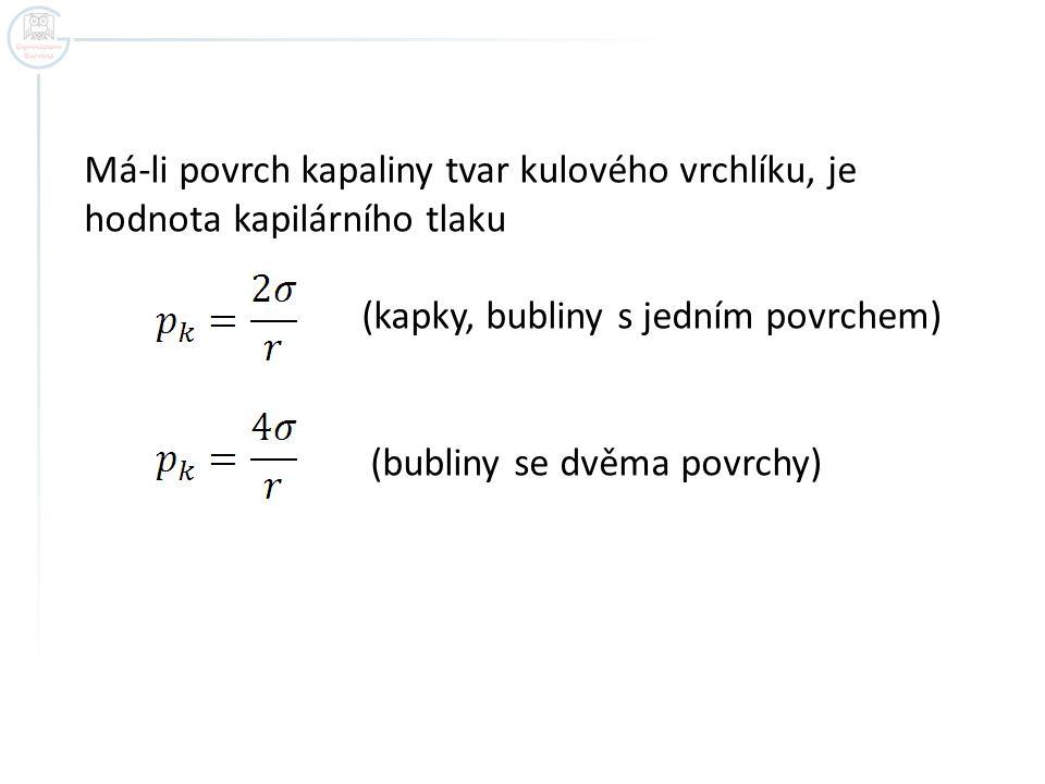 Má-li povrch kapaliny tvar kulového vrchlíku, je hodnota kapilárního tlaku (kapky, bubliny s jedním povrchem) (bubliny se dvěma povrchy)