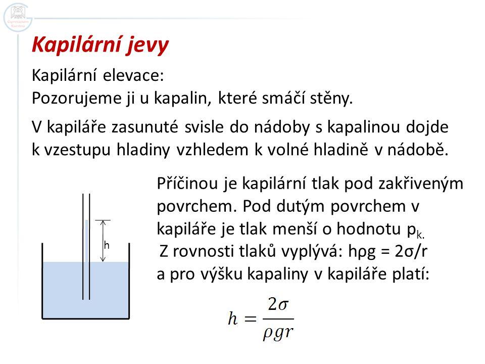 Kapilární jevy Kapilární elevace: Pozorujeme ji u kapalin, které smáčí stěny. V kapiláře zasunuté svisle do nádoby s kapalinou dojde k vzestupu hladin
