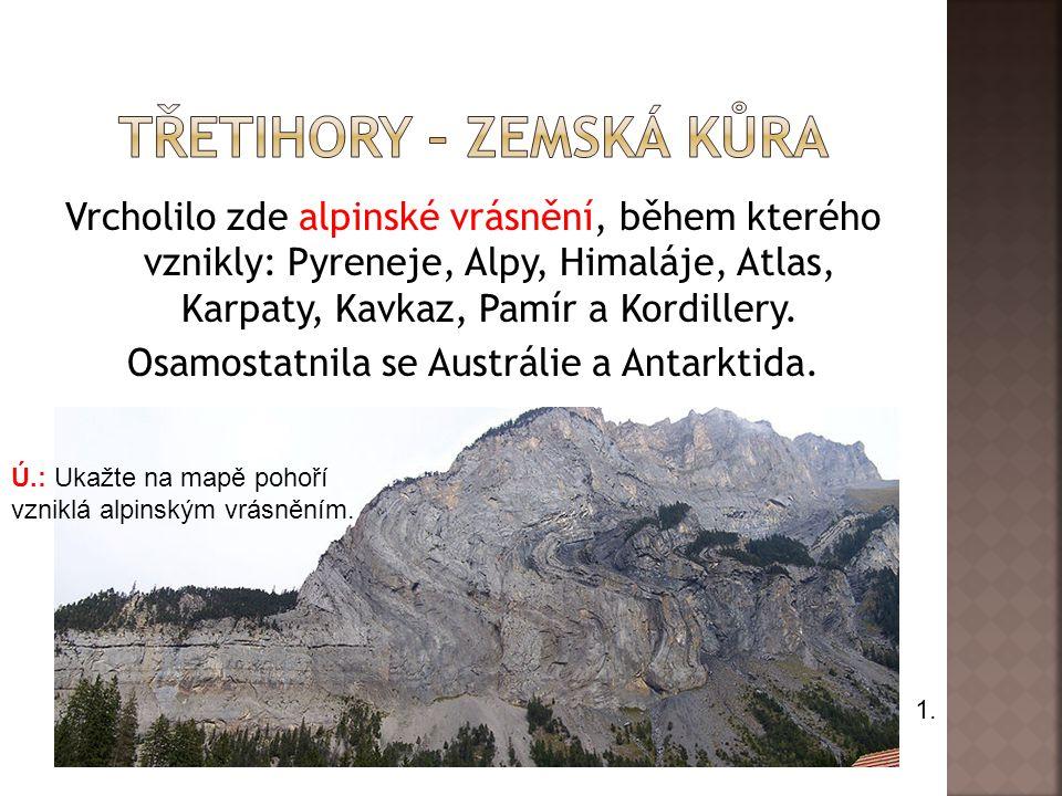 Vrcholilo zde alpinské vrásnění, během kterého vznikly: Pyreneje, Alpy, Himaláje, Atlas, Karpaty, Kavkaz, Pamír a Kordillery. Osamostatnila se Austrál