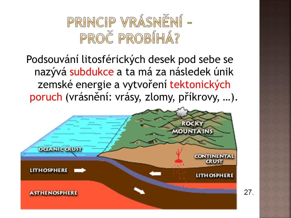 Podsouvání litosférických desek pod sebe se nazývá subdukce a ta má za následek únik zemské energie a vytvoření tektonických poruch (vrásnění: vrásy,