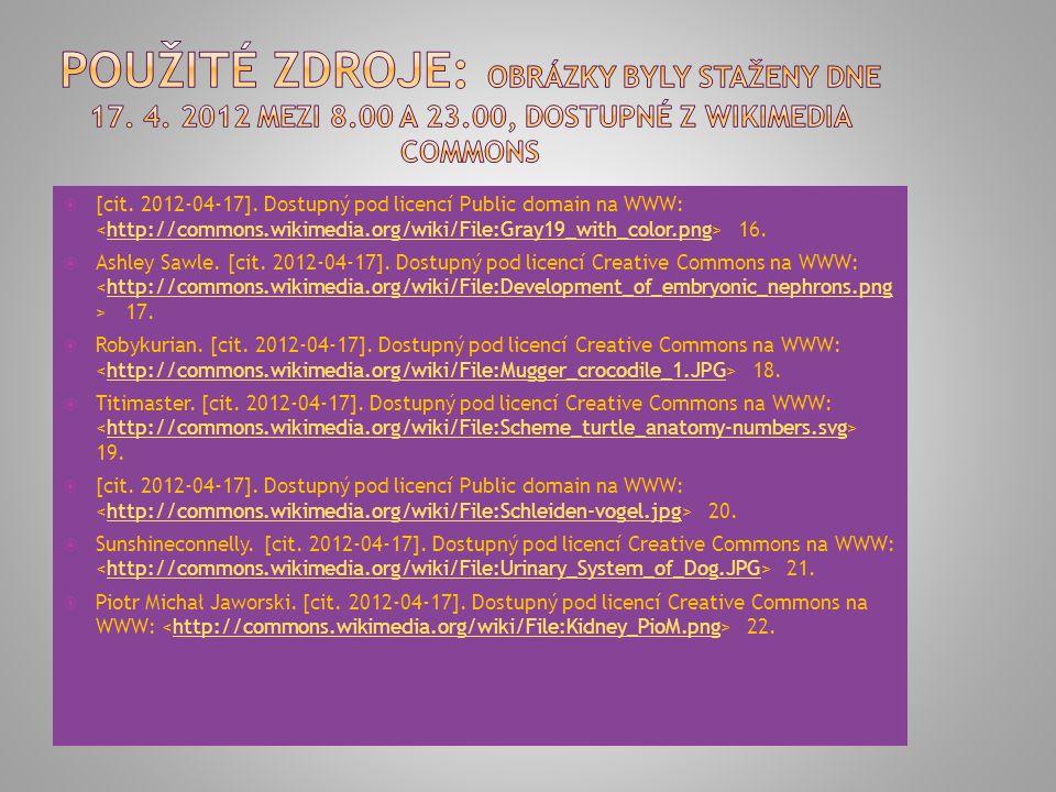  [cit. 2012-04-17]. Dostupný pod licencí Public domain na WWW: 16.http://commons.wikimedia.org/wiki/File:Gray19_with_color.png  Ashley Sawle. [cit.