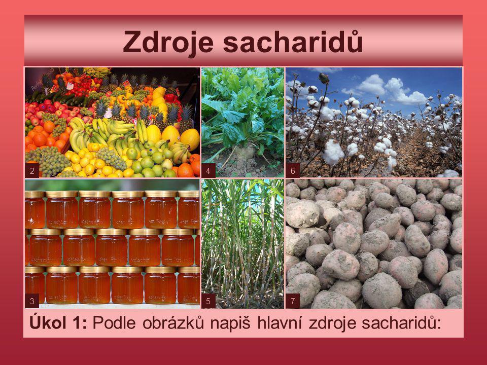 Zdroje sacharidů Úkol 1: Podle obrázků napiš hlavní zdroje sacharidů: 2 3 4 5 6 7