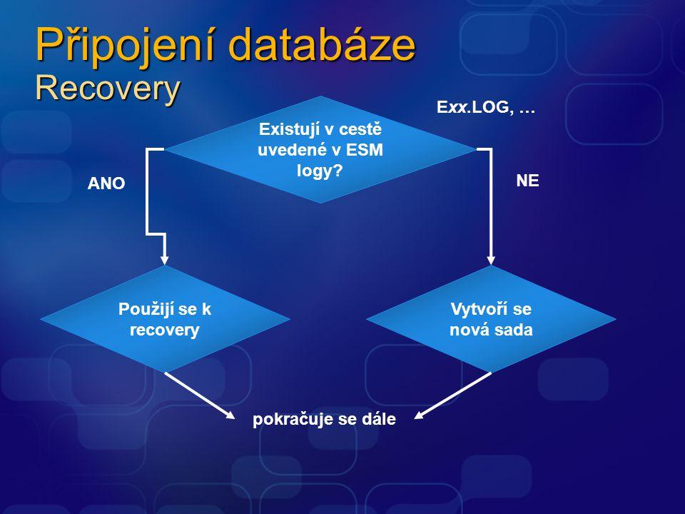 Připojení databáze Recovery Existují v cestě uvedené v ESM logy? Exx.LOG, … Použijí se k recovery ANO Vytvoří se nová sada NE pokračuje se dále