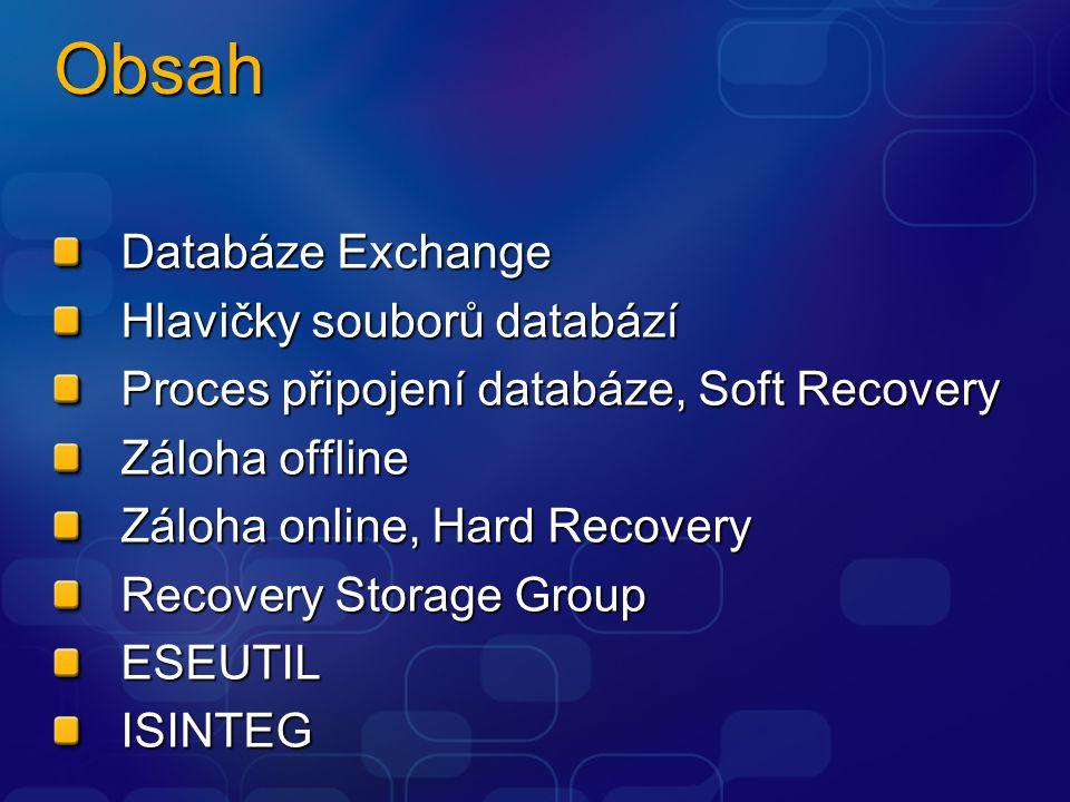 RAM EDB (MAPI klienti, formát RTF) Databáze Exchange LOG LOGLOG LOG STM (Internetové protokoly, formát MIME) data LAZY Writer CHK