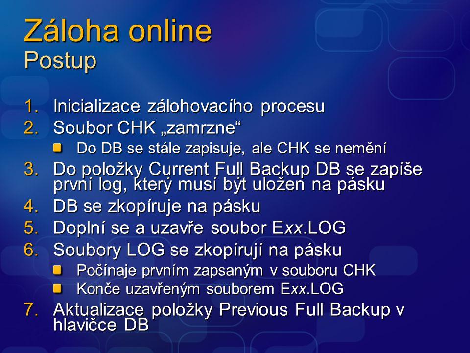 """Záloha online Postup 1.Inicializace zálohovacího procesu 2.Soubor CHK """"zamrzne Do DB se stále zapisuje, ale CHK se nemění 3.Do položky Current Full Backup DB se zapíše první log, který musí být uložen na pásku 4.DB se zkopíruje na pásku 5.Doplní se a uzavře soubor Exx.LOG 6.Soubory LOG se zkopírují na pásku Počínaje prvním zapsaným v souboru CHK Konče uzavřeným souborem Exx.LOG 7.Aktualizace položky Previous Full Backup v hlavičce DB"""