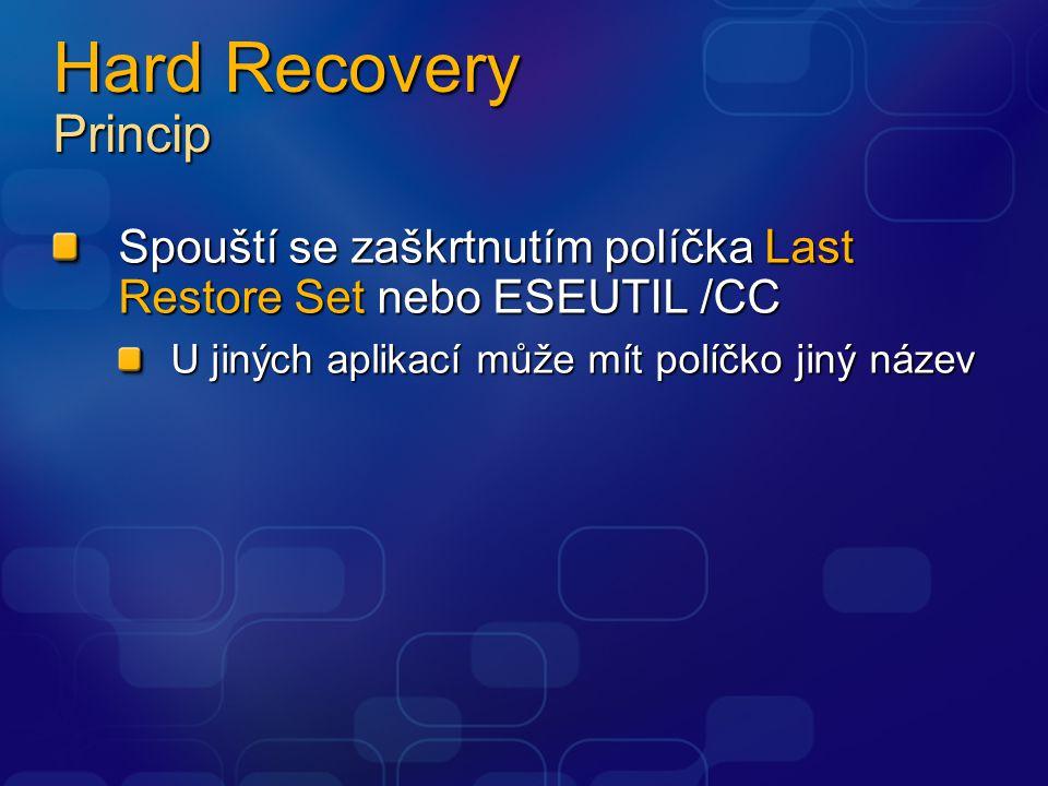 Hard Recovery Princip Spouští se zaškrtnutím políčka Last Restore Set nebo ESEUTIL /CC U jiných aplikací může mít políčko jiný název