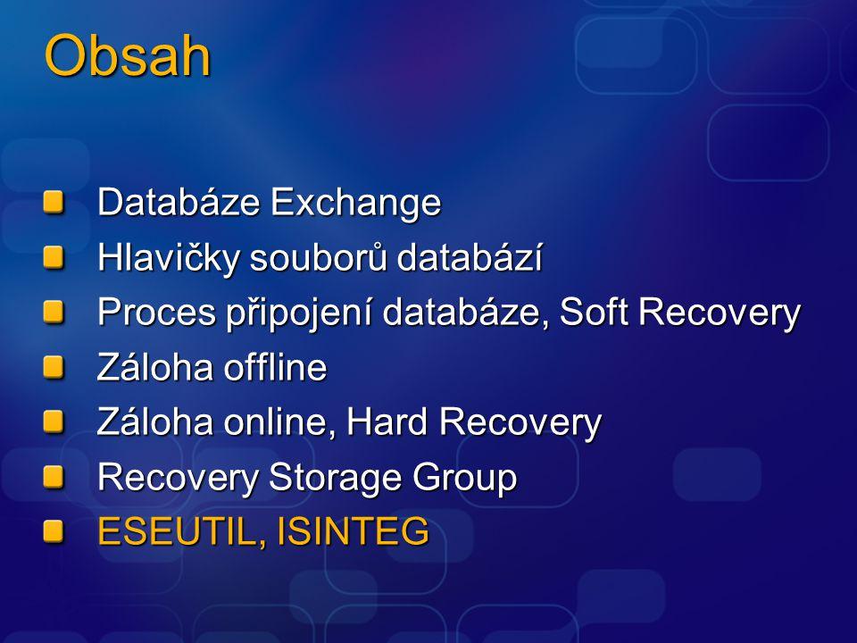 Obsah Databáze Exchange Hlavičky souborů databází Proces připojení databáze, Soft Recovery Záloha offline Záloha online, Hard Recovery Recovery Storage Group ESEUTIL, ISINTEG