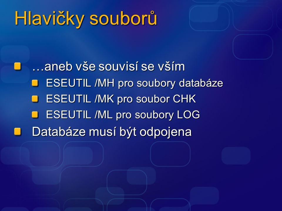 Hlavičky souborů …aneb vše souvisí se vším ESEUTIL /MH pro soubory databáze ESEUTIL /MK pro soubor CHK ESEUTIL /ML pro soubory LOG Databáze musí být o