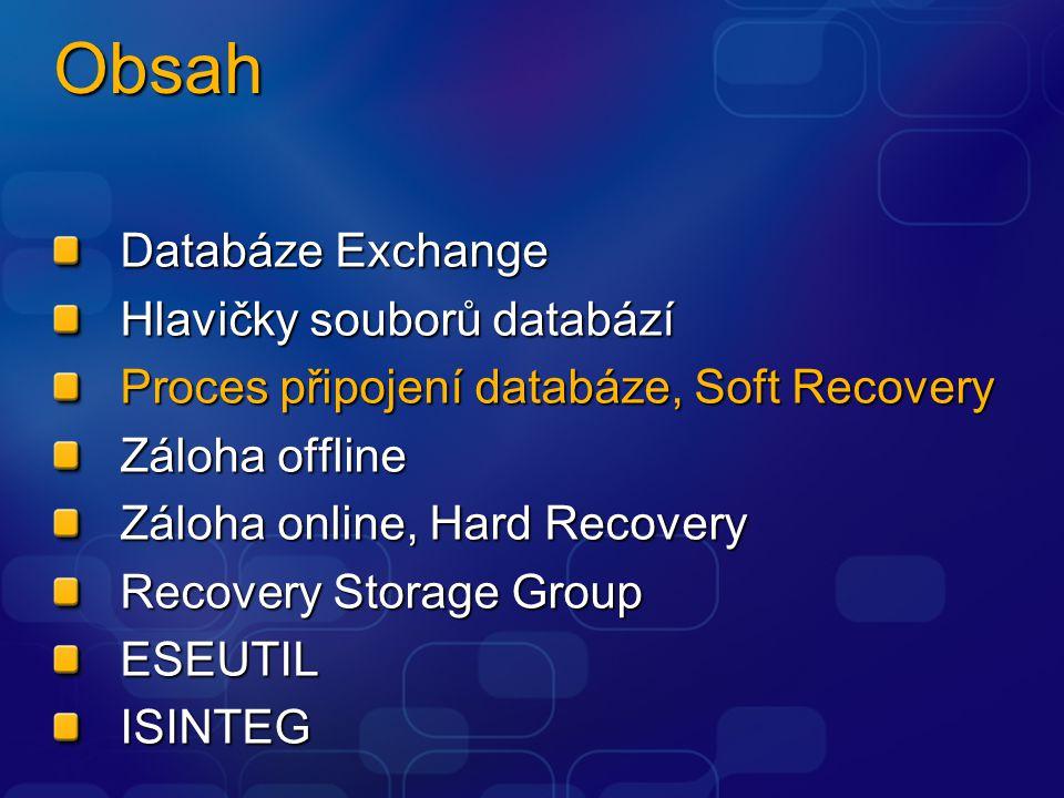 Obsah Databáze Exchange Hlavičky souborů databází Proces připojení databáze, Soft Recovery Záloha offline Záloha online, Hard Recovery Recovery Storag
