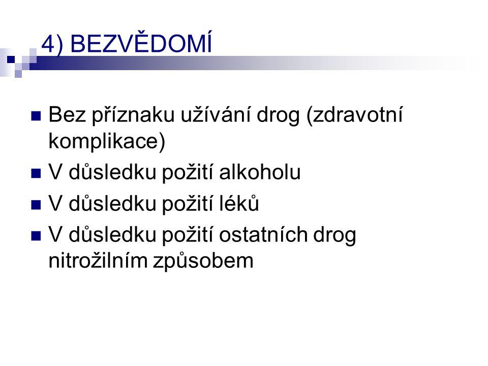 4) BEZVĚDOMÍ  Bez příznaku užívání drog (zdravotní komplikace)  V důsledku požití alkoholu  V důsledku požití léků  V důsledku požití ostatních dr