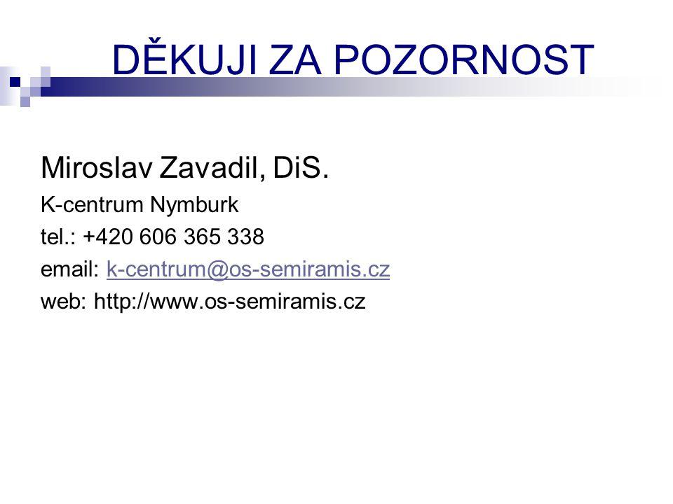 DĚKUJI ZA POZORNOST Miroslav Zavadil, DiS. K-centrum Nymburk tel.: +420 606 365 338 email: k-centrum@os-semiramis.czk-centrum@os-semiramis.cz web: htt