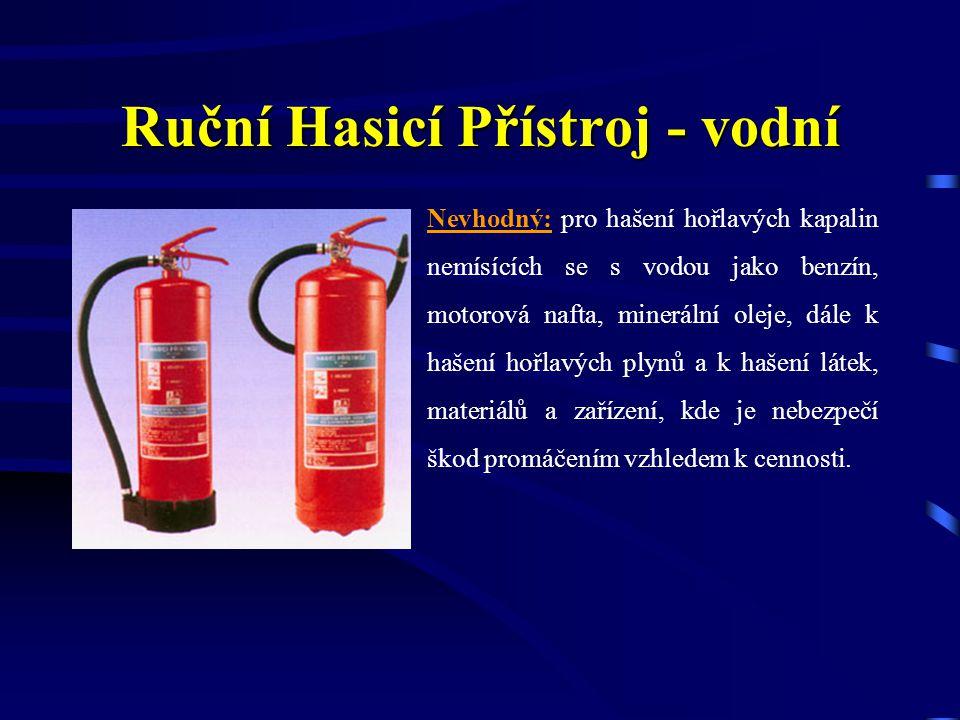 Vhodný: pro hašení požáru pevných látek např. dřevo, papír, uhlí, textilie, guma a výjimečně použitelné k hašení menších množství hořlavých kapalin mí