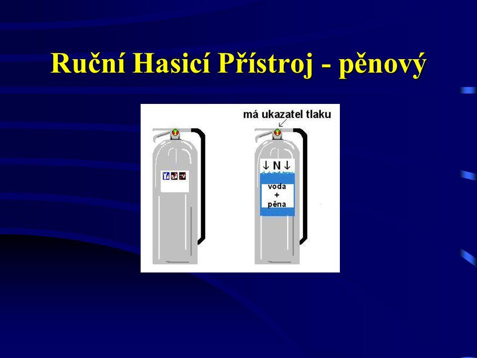 Ruční Hasicí Přístroj - vodní Nesmí být použit: k hašení elektrických zařízení pod proudem a v jejich blízkosti, lehkých a hořlavých alkalických kovů,