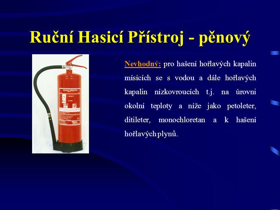 Vhodný: pro hašení pevných látek a hořlavých kapalin nemísících se s vodou, jako benzín, motorová nafta, minerální oleje, tuky apod.