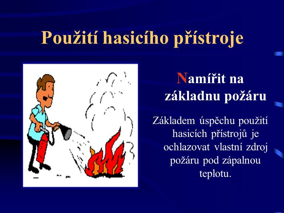 Použití hasicího přístroje P ojistku vytáhnout Hasicí přístroje jsou proti samovolnému spuštění vybaveny pojistkou, která je zajištěna z druhé strany