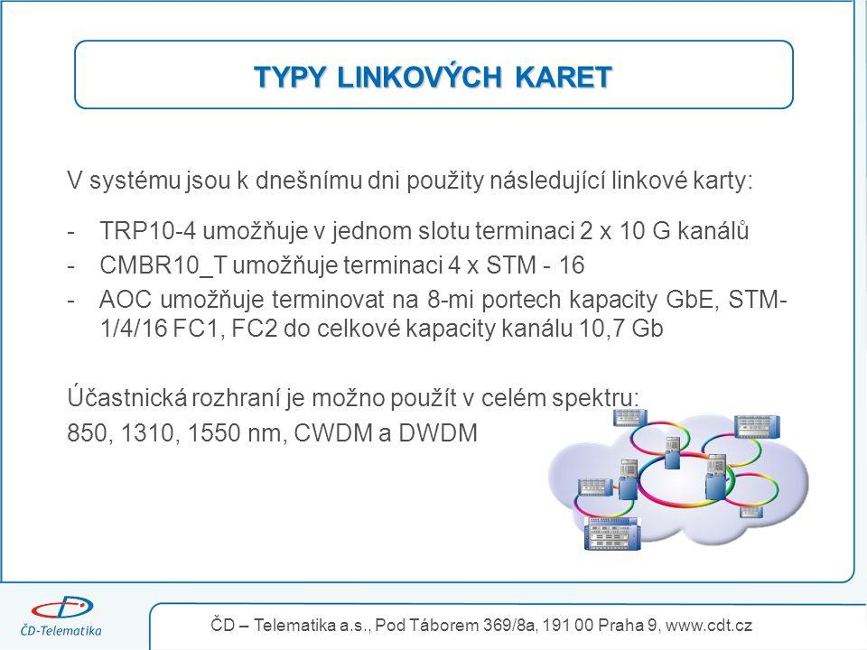 TYPY LINKOVÝCH KARET V systému jsou k dnešnímu dni použity následující linkové karty: -TRP10-4 umožňuje v jednom slotu terminaci 2 x 10 G kanálů -CMBR