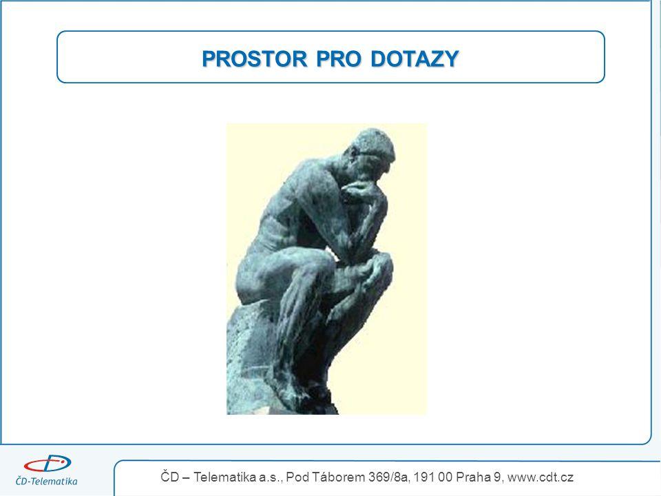 PROSTOR PRO DOTAZY ČD – Telematika a.s., Pod Táborem 369/8a, 191 00 Praha 9, www.cdt.cz